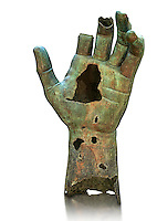 Gigantic Roman bronze statue hand possibly from a sculpture of Emperor Constantine, from Rome. The Capitoline Museums, Rome