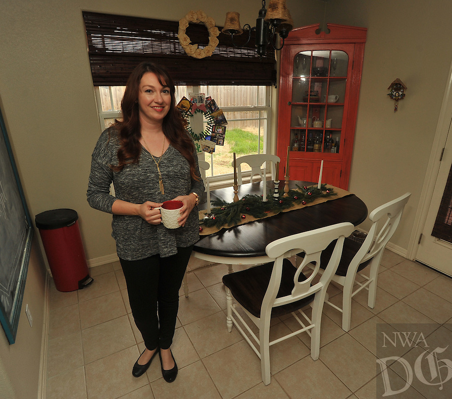 NWA Democrat-Gazette/MICHAEL WOODS &bull; <br /> Jessica Leonard at her kitchen table Saturday December 12, 2015 at her Fayetteville home.