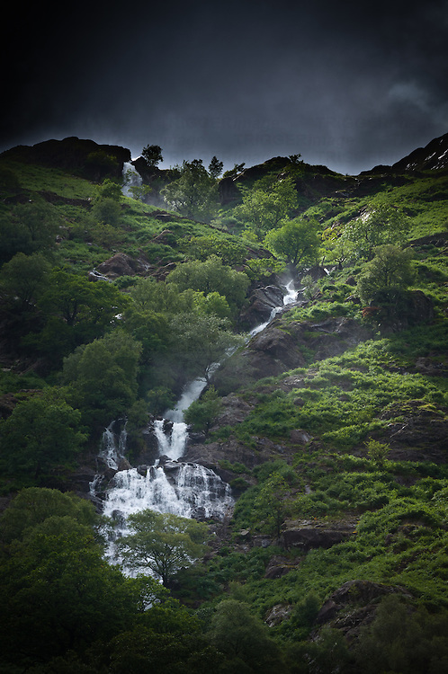 Waterfall in the central Lake District mountains