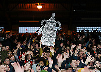 5th January 2020; Selhurst Park, London, England; English FA Cup Football, Crystal Palace versus Derby County; Derby County fans holding up a tin foil FA Cup  - Strictly Editorial Use Only. No use with unauthorized audio, video, data, fixture lists, club/league logos or 'live' services. Online in-match use limited to 120 images, no video emulation. No use in betting, games or single club/league/player publications