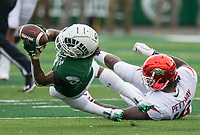 NWA Democrat-Gazette/BEN GOFF @NWABENGOFF<br /> Jordan Fogal, Colorado State free safety, intercepts a pass intended for La'Michael Pettway, Arkansas wide receiver, in the first quarter Saturday, Sept. 8, 2018, at Canvas Stadium in Fort Collins, Colo.