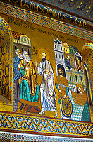 Medieval Byzantine style mosaics of St Paul preaching in then fleeing from Damascus, Palatine Chapel, Cappella Palatina, Palermo, Italy
