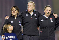 Mascot, Katy McLean, Tamara Taylor and Rochelle Clark during the National Antherm, England Women v Scotland Women in the 6 Nations at Northern Echo Arena, Darlington, England, on 13th March 2015