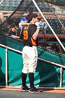 Brandon Belt #9 of the San Francisco Giants takes batting practice before the game against the Arizona Diamondbacks in the first spring training game of the season at Scottsdale Stadium on February 25, 2011  in Scottsdale, Arizona. .Photo by:  Bill Mitchell/Four Seam Images.