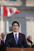 Justin Trudeau, Canada new  Prime Minister adress the medias  on the grounds of Rideau Hall in Ottawa, Ontario, on Wednesday, November 4, 2015.<br /> <br /> PHOTO : Pierre Roussel<br /> - Agence Quebec Presse