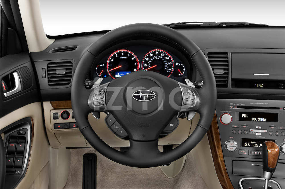 Steering wheel view of a 2008 Subaru Legacy GT sedan