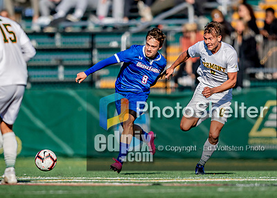 26 October 2019: University of Massachusetts Lowell River Hawk Forward Renato Kauzlaric, a Sophomore from Zagreb, Croatia, battles University of Vermont Catamount Defender Arnar Steinn Hansson, a Senior from Garðabær, Iceland, in first half action at Virtue Field in Burlington, Vermont. The Catamounts rallied to defeat the River Hawks 2-1, propelling the Cats to the America East Division 1 conference playoffs. Mandatory Credit: Ed Wolfstein Photo *** RAW (NEF) Image File Available ***