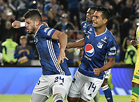 BOGOTA - COLOMBIA, 03-02-2019: Matias De Los Santos (Izq) de Millonarios celebra después de anotar el primer gol de su equipo durante partido por la fecha 3 de la Liga Águila I 2019 entre Millonarios y Atlético Bucaramanga jugado en el estadio Nemesio Camacho El Campin de la ciudad de Bogotá. / Matias De Los Santos (L) of Millonarios celebrates after scoring the first goal of his team during match for the date 3 of the Liga Aguila I 2019 between Millonarios and Atletico Bucaramanga played at the Nemesio Camacho El Campin Stadium in Bogota city. Photo: VizzorImage / Gabriel Aponte / Staff.
