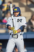 Michigan Wolverines outfielder Jordan Brewer (22) at the plate during the NCAA baseball game against the Eastern Michigan Eagles on May 8, 2019 at Ray Fisher Stadium in Ann Arbor, Michigan. Michigan defeated Eastern Michigan 10-1. (Andrew Woolley/Four Seam Images)