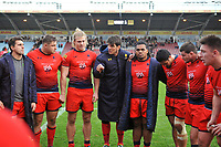 Donncha O'Callaghan of Worcester Warriors speaks to his team-mates in a post-match huddle. Aviva Premiership match, between Harlequins and Worcester Warriors on October 28, 2017 at the Twickenham Stoop in London, England. Photo by: Patrick Khachfe / JMP