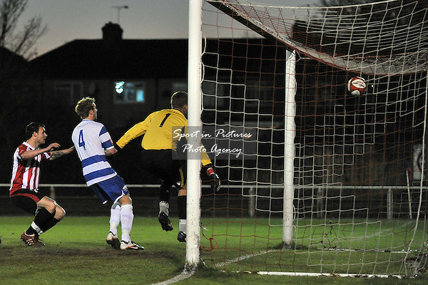 Martin Tuohy (Hornchurch) heads in the first goal. AFC Hornchurch Vs Margate. Ryman Premier Division. The Stadium. Essex. 27/03/2012. MANDATORY Credit Garry Bowden/Sportinpictures - NO UNAUTHORISED USE - 07837 394578.
