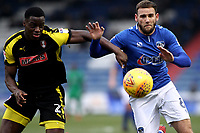 Oldham Athletic's Dan Gardner (right) battles with Rotherham United's Josh Emmanuel during the Sky Bet League 1 match between Oldham Athletic and Rotherham United at Boundary Park, Oldham, England on 13 January 2018. Photo by Juel Miah / PRiME Media Images.