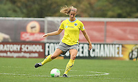 Philadelphia defender, Allison Falk (3) passes the ball to her teammate.  The Philadelphia Independence and Sky Blue FC headed into a rain delay, tied 0-0, after 16 minutes of play at Yurcak Field on the Rutgers University Campus in Piscataway, NJ.