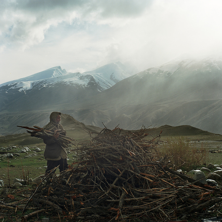 A Wakhi shepherd collects firewood in the Big Pamir Mountains.