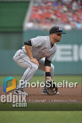 30 August 2015: Miami Marlins third baseman Martin Prado in action against the Washington Nationals at Nationals Park in Washington, DC. The Nationals rallied to defeat the Marlins 7-4 in the third game of their 3-game weekend series. Mandatory Credit: Ed Wolfstein Photo *** RAW (NEF) Image File Available ***