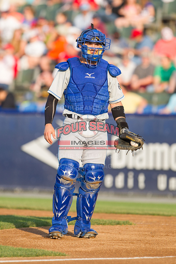 Akron Rubber Ducks catcher Tony Wolters (1) on defense against the Reading Fightin Phils at FirstEnergy Stadium on June 19, 2014 in Wappingers Falls, New York.  The Rubber Ducks defeated the Fightin Phils 3-2.  (Brian Westerholt/Four Seam Images)