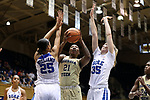 DURHAM, NC - FEBRUARY 01: Georgia Tech's Zaire O'Neil (21) is defended by Duke's Jade Williams (25) and Erin Mathias (35). The Duke University Blue Devils hosted the Georgia Tech University Yellow Jackets on February 1, 2018 at Cameron Indoor Stadium in Durham, NC in a Division I women's college basketball game. Duke won the game 77-59.