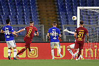 Edin Dzeko of AS Roma scores the goal of 1-1 for his side during the Serie A football match between AS Roma and UC Sampdoria at Olimpico stadium in Rome ( Italy ), June 24th, 2020. Play resumes behind closed doors following the outbreak of the coronavirus disease. AS Roma won 2-1 over UC Sampdoria. <br /> Photo Andrea Staccioli / Insidefoto