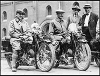 BNPS.co.uk (01202)558833Pic: Brough/BNPS<br /> <br /> Great friends - George Brough(L) with F.P Dickson before the 1925 Alpine challenge.<br /> <br /> A vintage motorbike that has a tragic past and is in a jumble of parts has sold for a world record price of &pound;425,000.<br /> <br /> The 1930 Brough SS100 was ridden in a fateful race by the British biker FP 'Gentleman' Dickson alongside teammate George Brough, the engineer behind the famous machine. <br /> <br /> Dickson died after crashing the bike at a race in Switzerland in August 1930.<br /> <br /> The SS100 was later owned by motorbike enthusiast for almost 50 years. He had intended to restore the machine but died before he could complete project.