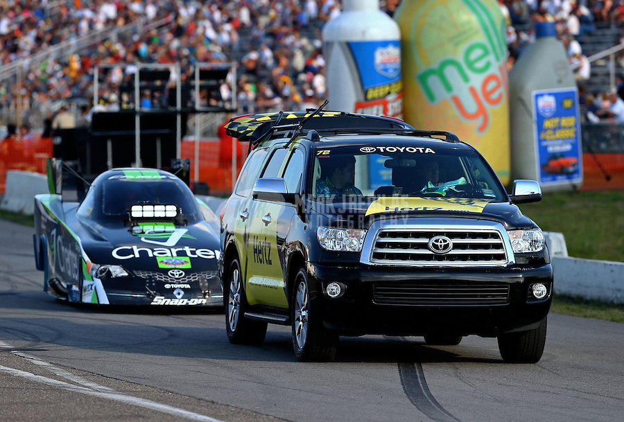Aug. 16, 2013; Brainerd, MN, USA: Toyota tow vehicle for NHRA funny car driver Tony Pedregon during qualifying for the Lucas Oil Nationals at Brainerd International Raceway. Mandatory Credit: Mark J. Rebilas-