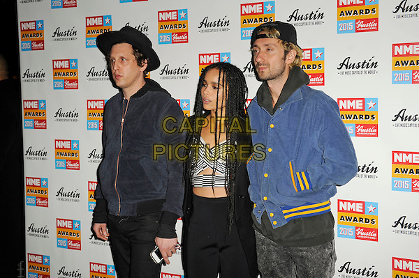 LONDON, ENGLAND - FEBRUARY 18: Zoe Kravitz and Lolawolf attending the NME Awards at Brixton Academy on February 18 2015 in London, England.<br /> CAP/MAR<br /> &copy; Martin Harris/Capital Pictures