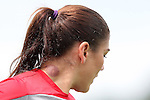 19 August 2014: Hope Solo with a large blemish on her neck. The United States Women's National Team held a public training session at WakeMed Stadium in Cary, North Carolina.