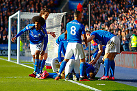 1st February 2020; King Power Stadium, Leicester, Midlands, England; English Premier League Football, Leicester City versus Chelsea; Leicester City players celebrate Ben Chilwell's goal after 64 minutes (2-1)