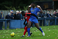 Henry Mabassa of Romford and Aryton Coley of Coggeshall Town  during Romford vs Coggeshall Town, BetVictor League North Division Football at the Brentwood Centre on 16th November 2019