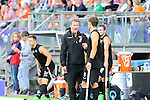 The Hague, Netherlands, June 10: head coach Colin Batch of New Zealand gives orders to Simon Child #6 of New Zealand at the sideline during the field hockey group match (Men - Group B) between New Zealand and The Netherlands on June 10, 2014 during the World Cup 2014 at Kyocera Stadium in The Hague, Netherlands. Final score 1-1 (0-1) (Photo by Dirk Markgraf / www.265-images.com) *** Local caption ***