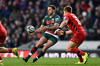 Joe Ford of Leicester Tigers passes the ball. Gallagher Premiership match, between Leicester Tigers and Saracens on November 25, 2018 at Welford Road in Leicester, England. Photo by: Patrick Khachfe / JMP
