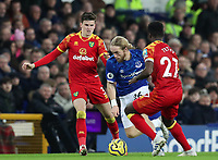 23rd  November 2019; Goodison Park , Liverpool, Merseyside, England; English Premier League Football, Everton versus Norwich City; Tom Davies of Everton takes on Sam Byram and Alexander Tettey of Norwich City Strictly Editorial Use Only. No use with unauthorized audio, video, data, fixture lists, club/league logos or 'live' services. Online in-match use limited to 120 images, no video emulation. No use in betting, games or single club/league/player publications