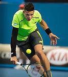 Milos Raonic (CAN) defeats Feliciano Lopez (ESP) 6-4, 4-6, 6-3, 6-7, 6-3