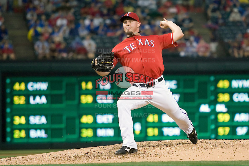 Texas Rangers starting pitcher Matt Harrison (54) delivers against the Oakland Athetics in American League baseball on May 11, 2011 at the Rangers Ballpark in  Arlington, Texas. (Photo by Andrew Woolley / Four Seam Images)