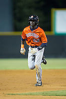 Daz Cameron (29) of the Greeneville Astros hustles towards third base against the Burlington Royals at Burlington Athletic Park on August 29, 2015 in Burlington, North Carolina.  The Royals defeated the Astros 3-1. (Brian Westerholt/Four Seam Images)