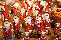 Father Christmas ornaments at Christmas market, Winter Wonderland, in Hyde Park, London