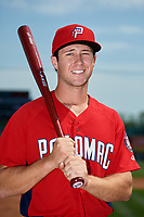 Potomac Nationals Carter Kieboom poses for a photo before a game against the Frederick Keys on May 12, 2018 at Nymeo Field in Frederick, Maryland.  Potomac defeated Frederick 7-4.  (Mike Janes/Four Seam Images)