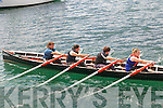 The Dingle Ladies naomhóg rowers Maunza Heidke, Elaine Waters Tara Folan and Gillian O'Brien getting ready to start their race at the Ventry Regatta on Sunday afternoon.
