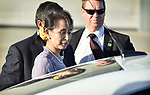 Aung San Suu Kyi, State Counsellor of the Republic of the Union of Myanmar, arrives at the Fairbairn Defence Establishment, Canberra, Sunday, March 18, 2018. AFP PHOTO/ MARK GRAHAM