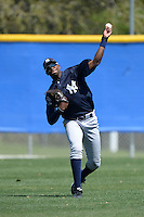 Outfielder Kendall Coleman (34) of the New York Yankees organization during practice before a minor league spring training game against the Toronto Blue Jays on March 16, 2014 at the Englebert Minor League Complex in Dunedin, Florida.  (Mike Janes/Four Seam Images)