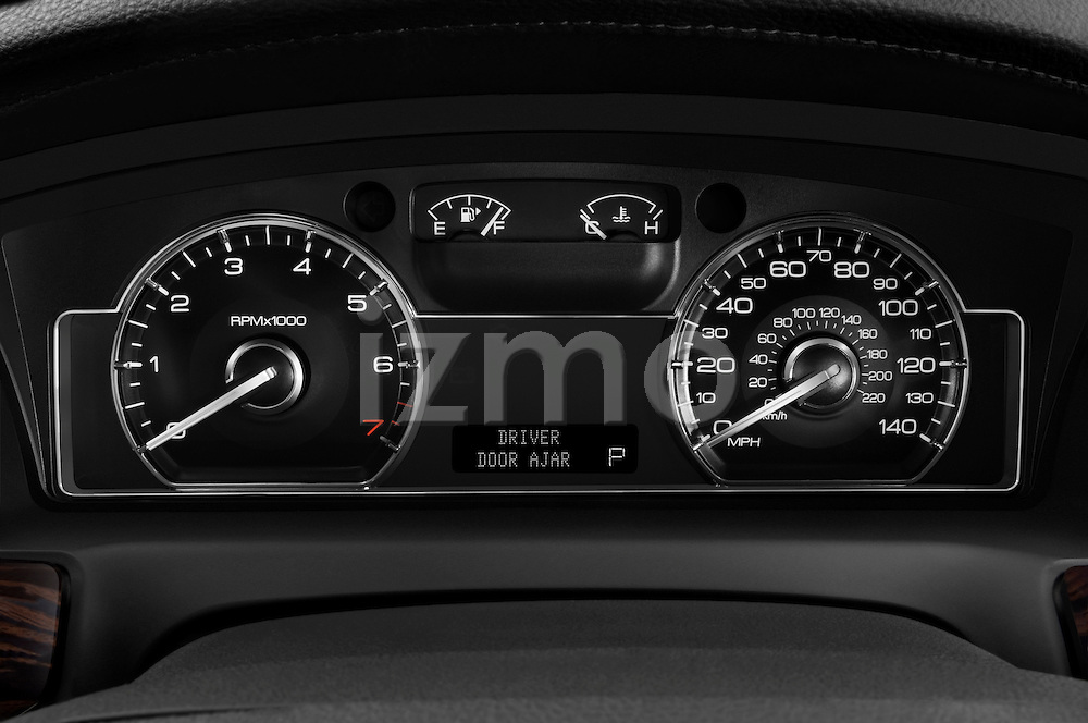 Instrument panel close up detail view of a 2010 Lincoln MKS FWD