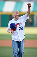 Buffalo Bills head coach Sean McDermott gives a thumbs up to the crowd before throwing out the ceremonial first pitch before a game between the Pawtucket Red Sox and Buffalo Bisons on May 19, 2017 at Coca-Cola Field in Buffalo, New York.  Buffalo defeated Pawtucket 7-5 in thirteen innings.  (Mike Janes/Four Seam Images)