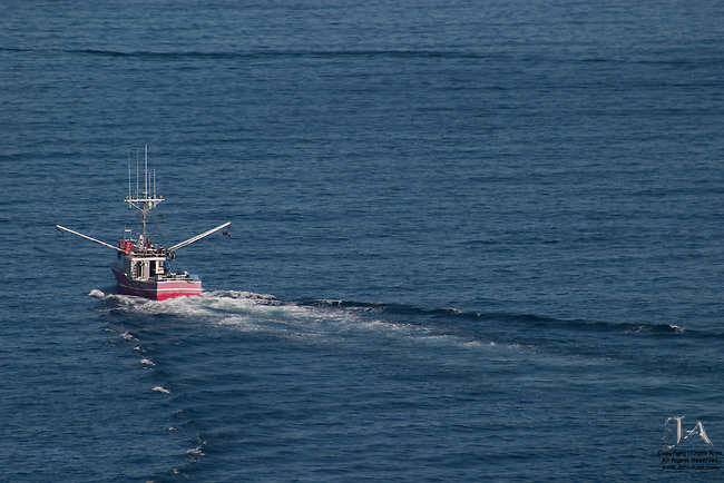 Red fishing boat heading off to sea, off Newfoundland. The outriggers or booms are extended
