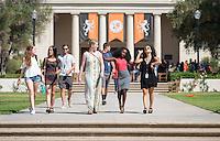 Incoming first years from left, Ginny Wyatt '19, Agnes Waithira '19, and Emily Dwyer '19, leave Convocation, Aug. 26, 2015 from Thorne Hall. The annual tradition starts the new school year.<br />