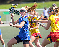 Action from the 2018 National Lacrosse Championships women's final between Auckland Premier (blue) and Waikato Premier at Wakefield Park in Wellington, New Zealand on Sunday, 18 March 2018. Photo: Dave Lintott / lintottphoto.co.nz