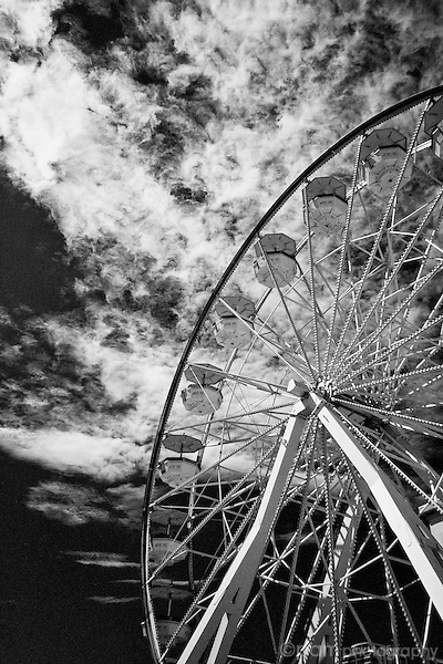 Black and white of ferris wheel.  Taken with infrared camera