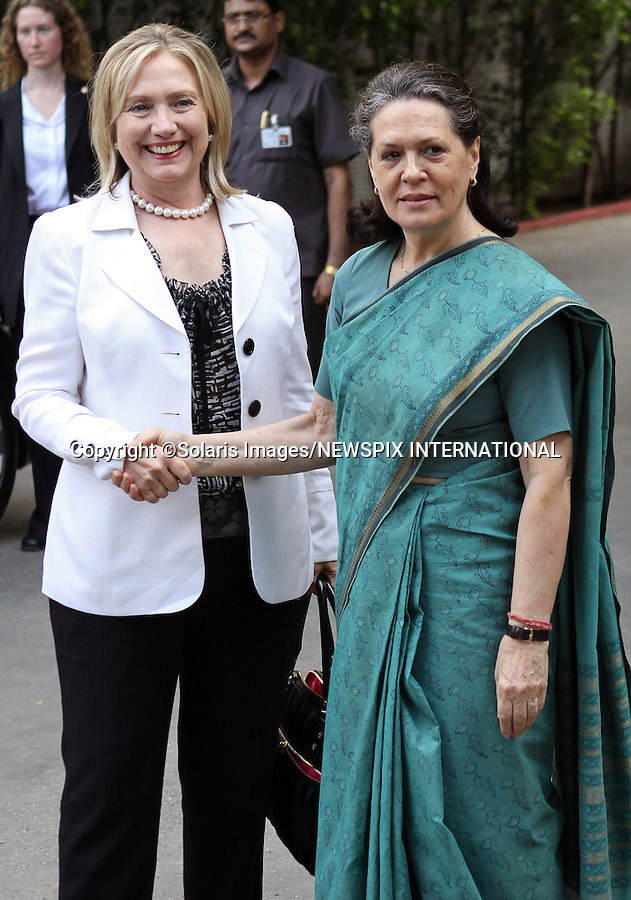 """HILARY RODHAM CLINTON AND SONIA GANDHI.The U.S. Secretary of State is greeted by Congress Party President Sonia Gandhi at her residence in New Delhi, prior to Clinton's 3-day visit to India_ July 19, 2011..Mandatory Credit Photo: ©Solaris/NEWSPIX INTERNATIONAL..(Failure to credit will incur a surcharge of 100% of reproduction fees)..                **ALL FEES PAYABLE TO: """"NEWSPIX INTERNATIONAL""""**..IMMEDIATE CONFIRMATION OF USAGE REQUIRED:.Newspix International, 31 Chinnery Hill, Bishop's Stortford, ENGLAND CM23 3PS.Tel:+441279 324672  ; Fax: +441279656877.Mobile:  07775681153.e-mail: info@newspixinternational.co.uk"""
