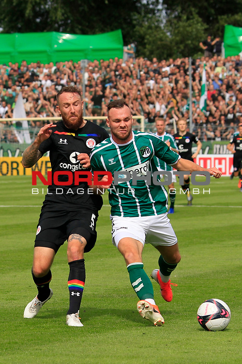11.08.2019, Stadion Lohmühle, Luebeck, GER, DFB-Pokal, 1. Runde VFB Lübeck vs 1.FC St. Pauli<br /> <br /> DFB REGULATIONS PROHIBIT ANY USE OF PHOTOGRAPHS AS IMAGE SEQUENCES AND/OR QUASI-VIDEO.<br /> <br /> im Bild / picture shows<br /> Marvin Knoll (FC St. Pauli) im Zweikampf gegen Patrick Hobsch (VfB Luebeck),<br /> <br /> Foto © nordphoto / Freund