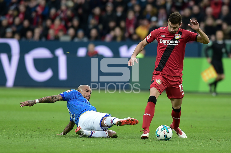 Football : Germany -1. Bundesliga  2017/18 <br /> Bayer Leverkusen 04 vs Mainz <br /> 28/01/2018 - Nigel Dejong  (FSV Mainz 05), Lucas Alario ( Bayer 04 Leverkusen) *** Local Caption *** &copy; pixathlon<br /> Contact: +49-40-22 63 02 60 , info@pixathlon.de