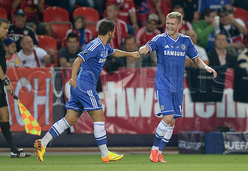 30.08.2013. Prague, Czech Republic.   UEFA Supercup 2013 FC Bayern Munich versus Chelsea. Fernando Torres  Chelsea scores the goal for 0-1