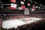 A general view of the Kohl Center during the National Anthem of Wisconsin Badgers WCHA Conference NCAA college women's hockey game against the Bemidji State Beavers on January 28, 2012 in Madison, Wisconsin. The Badgers won 1-0. (Photo by David Stluka)